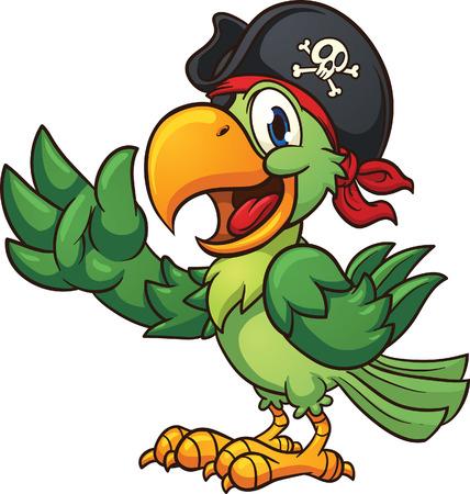 sombrero pirata: Loro pirata de la historieta. Vector clip de arte de la ilustración con pendientes sencillos. Todo en una sola capa Vectores