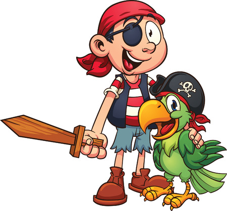 Pirate and parrot. Vector clip art illustration with simple gradients. All in a single layer