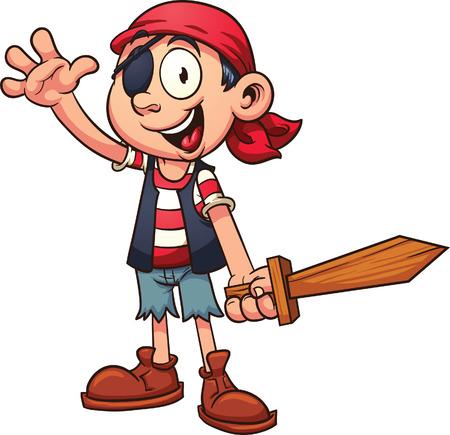 幸せな海賊少年。 シンプルなグラデーション ベクトル クリップ アート イラスト。 1 つのレイヤーにすべて