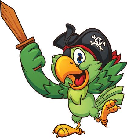 sombrero pirata: Loro Pirata que sostiene una espada de madera. Vector clip de arte de la ilustración con pendientes sencillos. Todo en una sola capa
