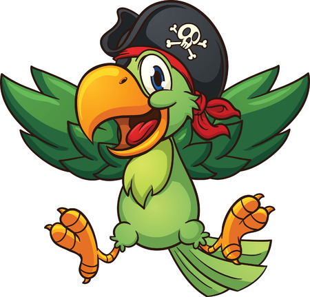 pajaro caricatura: Loro pirata feliz