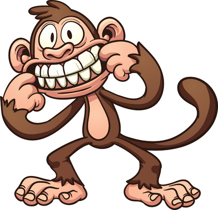 mono caricatura: Burlándose mono de dibujos animados Vector de imágenes prediseñadas ilustración con gradientes simples Todo en una sola capa