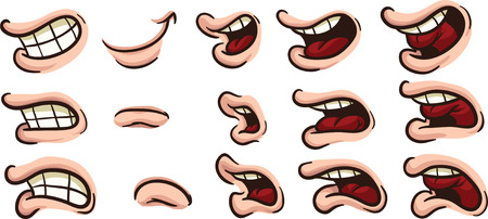 Cartoon mouths  Vector clip art illustration  Each on a separate layer