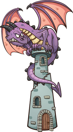 cartoon dragon: Dragon perched on tower  Vector clip art illustration with simple gradients  All in a single layer