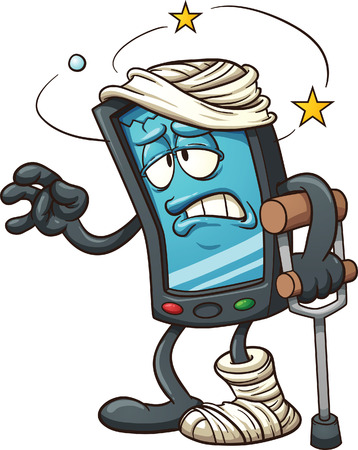 phone: Cartoon broken smartphone  Vector clip art illustration with simple gradients  All in a single layer  Illustration