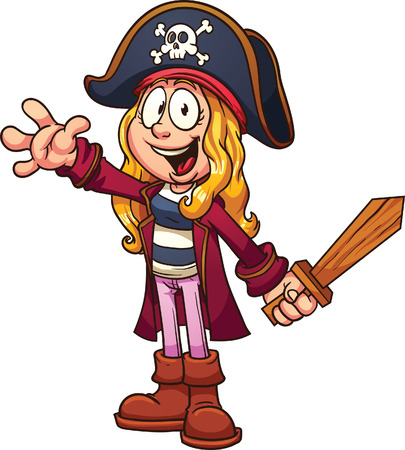 Cartoon pirate girl clip art illustration with simple gradients  All in a single layer  일러스트