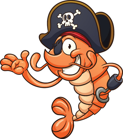 Pirate shrimp clip art illustration with simple gradients  All in a single layer  Vettoriali