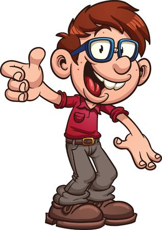 Cartoon nerd or geek clip art illustration with simple gradients  All in a single layer