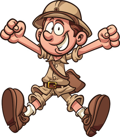 explorer man: Cartoon jungle explorer clip art illustration with simple gradients  All in a single layer