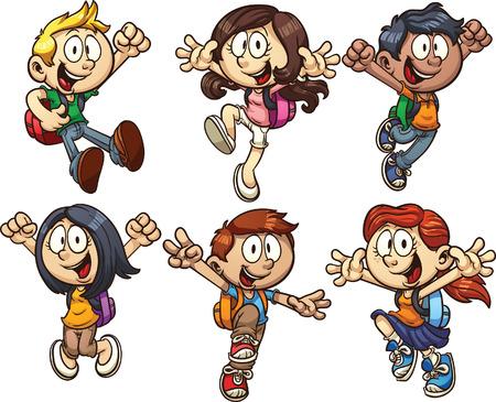niño con mochila: Niños de la escuela de dibujos animados clip art ilustración con gradientes simples cada uno en una capa separada