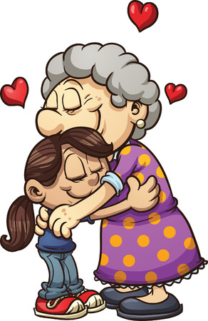 Girl hugging her grandmother  Vector clip art illustration with simple gradients   Çizim
