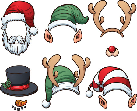 Christmas hats  Vector clip art illustration with simple gradients  Ilustração