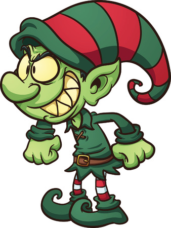 Evil Christmas elf  Vector clip art illustration with simple gradients   Vectores