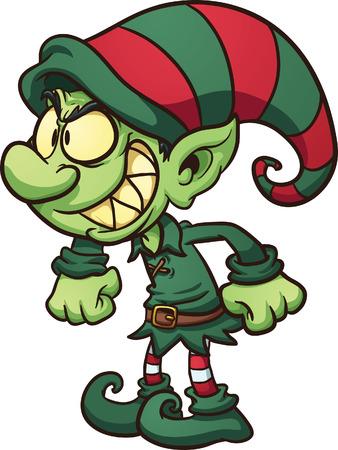 Evil Christmas elf  Vector clip art illustration with simple gradients   Vettoriali