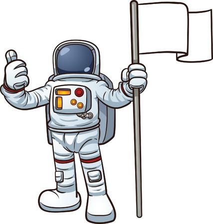 Cartoon astronaut with blank flag  Vector clip art illustration with simple gradients
