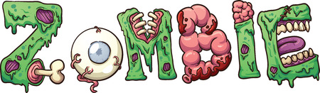 Zombie text  Vector clip art illustration with simple gradients Vectores