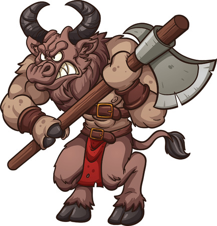 Cartoon minotaur with axe  Vector clip art illustration with simple gradients