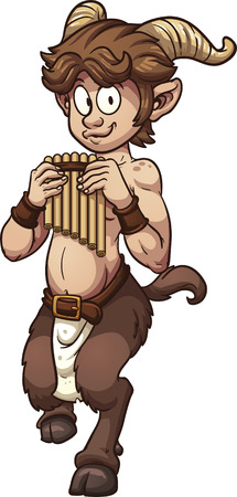 mythological character: Cartoon satyr with pan flute  Vector clip art illustration with simple gradients