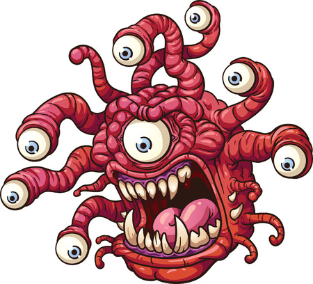 scary eyes: Beholder monster  Vector clip art illustration with simple gradients  All in a single layer  Illustration