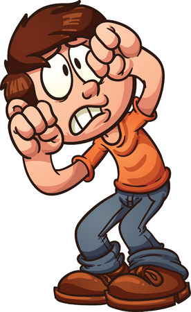 Scared cartoon boy protecting his face  Vector clip art illustration with simple gradients  All in a single layer  일러스트