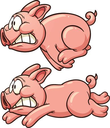 cerdo caricatura: Cerdo Scared Vector corriendo clipart ilustración con gradientes simples Cada uno en una capa separada