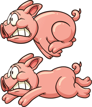 Scared pig running  Vector clip art illustration with simple gradients  Each in a separate layer