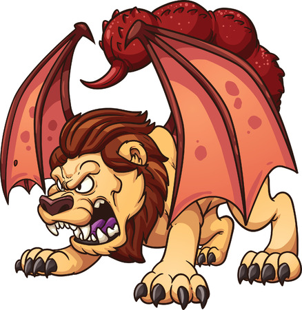 mythological character: Cartoon manticore  clip art illustration with simple gradients  All in a single layer  Illustration