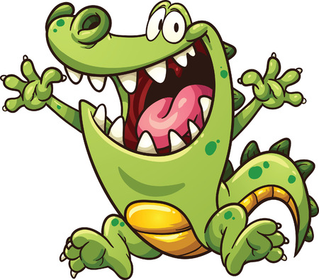 excited cartoon: Happy cartoon crocodile  clip art illustration with simple gradients  All in a single layer