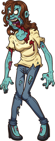 zombie: Zombie woman screaming  clip art illustration with simple gradients  All in a single layer