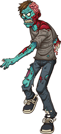 Cartoon walking zombie  Vector clip art illustration with simple gradients  All in a single layer