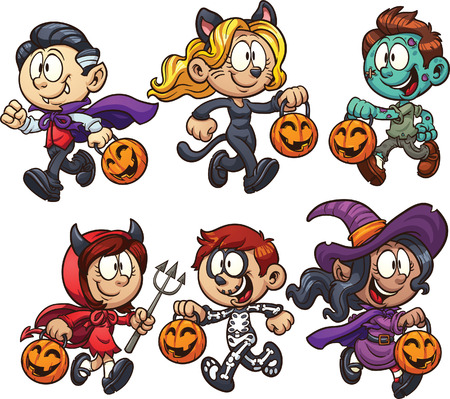 Cartoon Halloween kids clip art illustration with simple gradients  Each on a separate layer