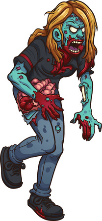 Walking zombie woman. Ilustração