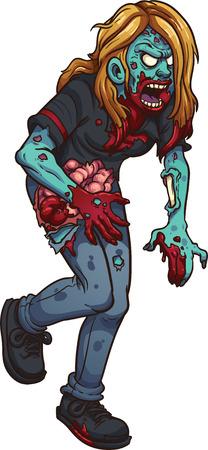 growling: Walking zombie woman. Illustration