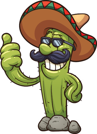 Mexican cartoon cactus clip art illustration