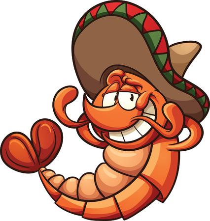 Cartoon mexikanischen Garnelen entspannen. Vector Clip Art Illustration mit einfachen Farbverläufen. Alle in einer einzigen Schicht. Standard-Bild - 31130997