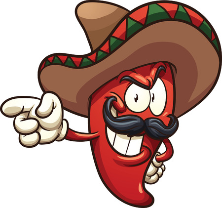 cartoon: Cartoon Mexican pepper. clip art illustration with simple gradients. All in a single layer. Illustration