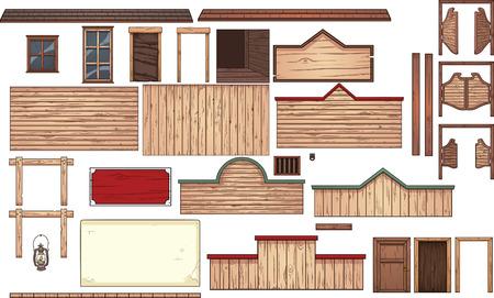 Elementos de ciudad del oeste vieja. Vector de imágenes prediseñadas ilustración con gradientes simples. Cada elemento en una capa separada. Ilustración de vector