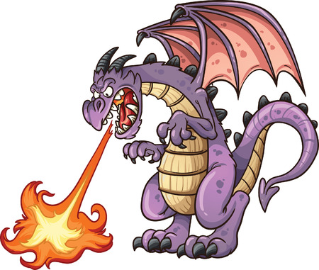 Cartoon dragon spitting fire. Vector clip art illustration with simple gradients. All in a single layer. Vettoriali