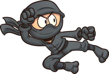 Ninja flying kick. clip art illustration with simple gradients. All in a single layer.