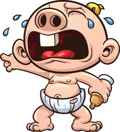 bambino che piange: Cartoon bambino che piange illustrazione Vettoriali