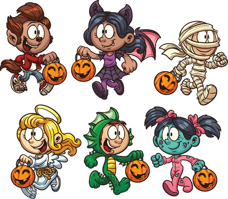 costumes: Cartoon Halloween kids Illustration
