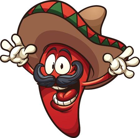 Gelukkig Mexicaanse chili peper. Vector illustraties illustratie met eenvoudige hellingen. Alle in een enkele laag.