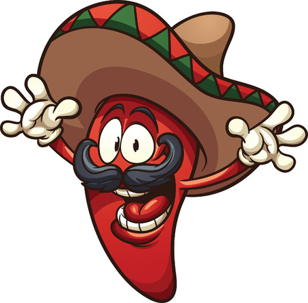 mexicans: Happy Mexican chili pepper. Vector clip art illustration with simple gradients. All in a single layer. Illustration