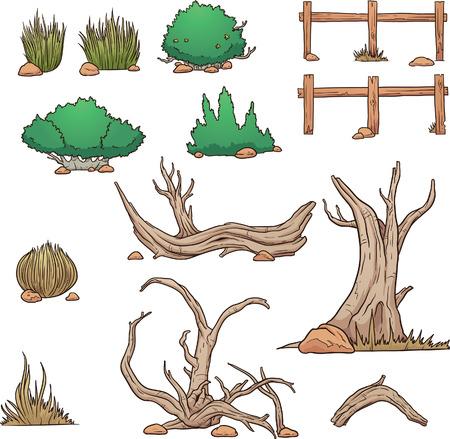 Desert elements, bushes and dead wood. Vector clip art illustration with simple gradients. Each element on a separate layer. Ilustração