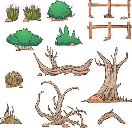 Desert elements, bushes and dead wood. Vector clip art illustration with simple gradients. Each element on a separate layer. Vettoriali
