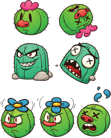 alive: Dead and alive cactus characters.  Illustration