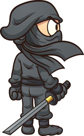 後ろから見た忍者を漫画します。