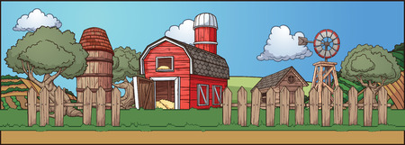 Farm background. Grass can be used in a seamless loop. All elements on separate layers. Vector illustration with simple gradients.