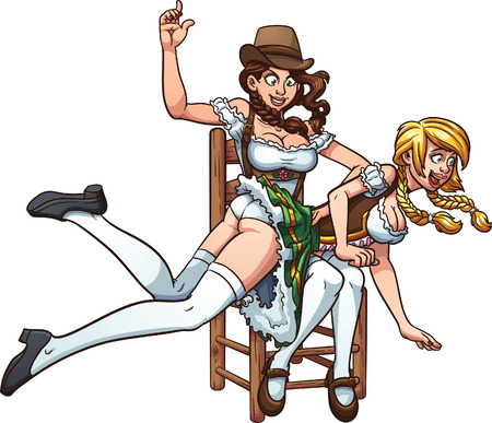 One Oktoberfest pin up girl spanking another playfully.