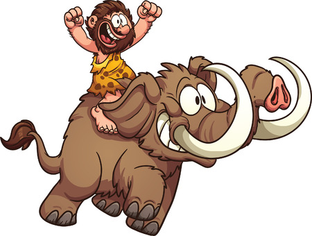 excite: Caveman riding a mammoth. Vector clip art illustration with simple gradients. All in a single layer. Illustration